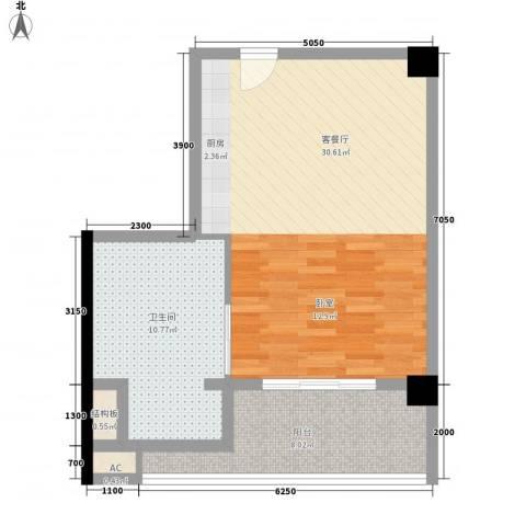 二月海1厅1卫0厨72.00㎡户型图