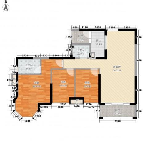 海景蓝湾3室1厅2卫1厨119.00㎡户型图