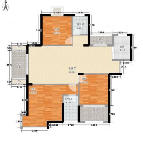 铜锣湾香逸澜湾3室1厅2卫1厨128.00㎡户型图
