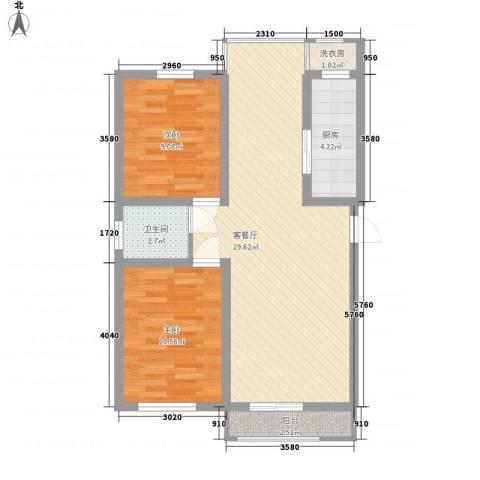 罗马花园2室1厅1卫1厨85.00㎡户型图