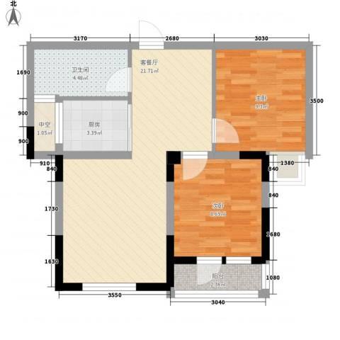 中庚香海连天2室1厅1卫1厨67.00㎡户型图