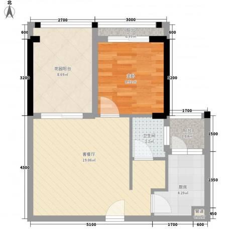 翠堤春晓1室1厅1卫1厨52.00㎡户型图