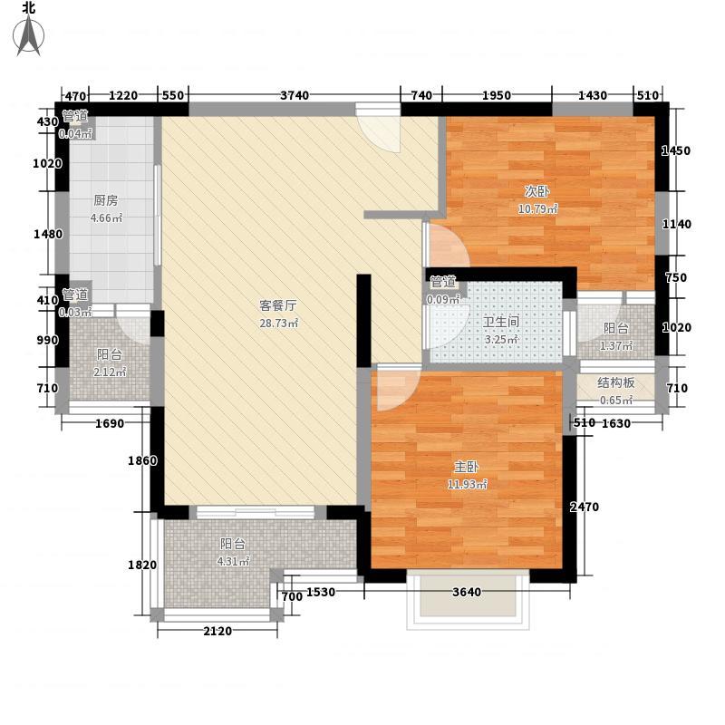 苏河融景11.00㎡B户型2室2厅1卫1厨