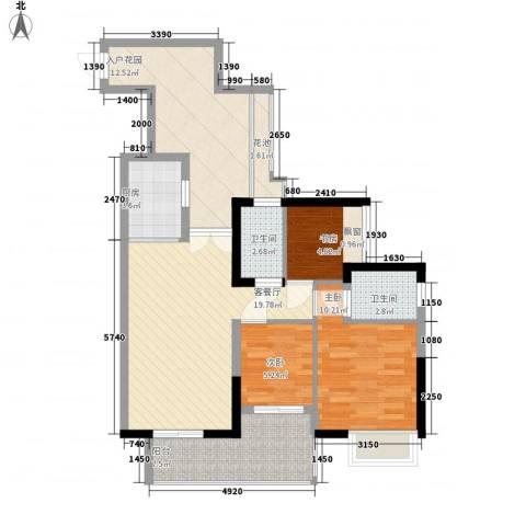 君华香柏广场3室1厅2卫1厨103.00㎡户型图