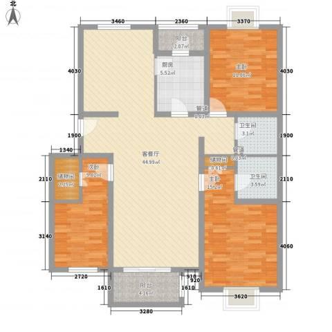 鲲鹏国际广场3室1厅2卫1厨148.00㎡户型图