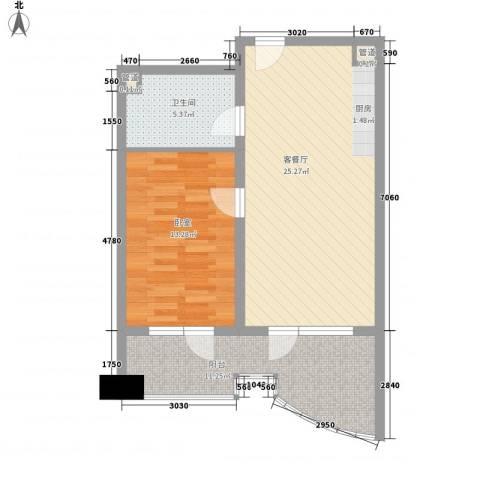 御庭春MOM∧白金海岸公寓1厅1卫0厨55.48㎡户型图