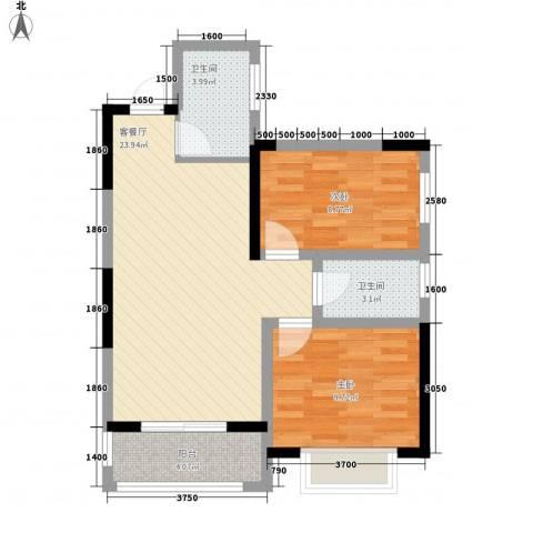 锦江公馆2室1厅2卫0厨89.00㎡户型图
