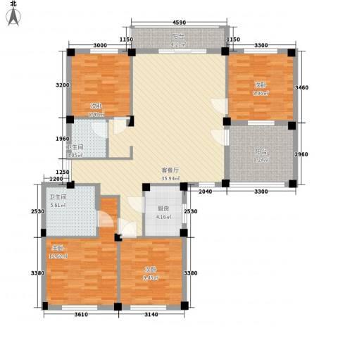 罗马花园4室1厅2卫1厨144.00㎡户型图