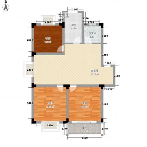 华林家园3室1厅1卫1厨109.00㎡户型图