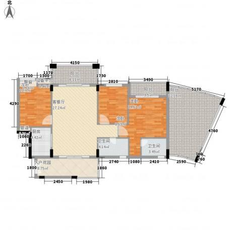 蜜糖苑3室1厅2卫1厨161.00㎡户型图