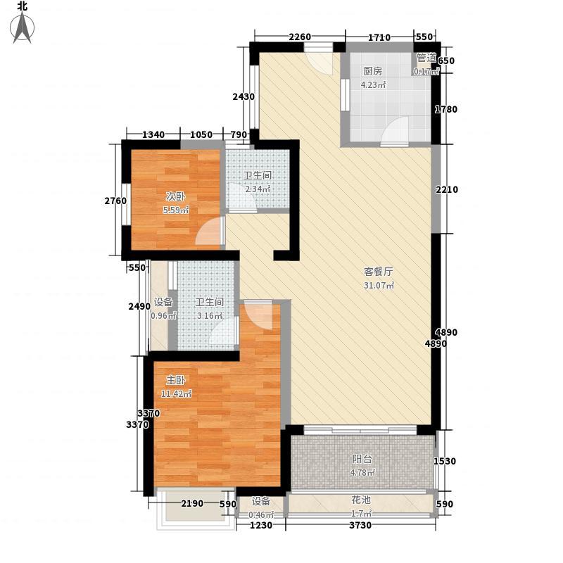 天泽江鼎户型图41#45#03 06单元B户型2房2厅2卫1厨96㎡ 2室2厅2卫1厨