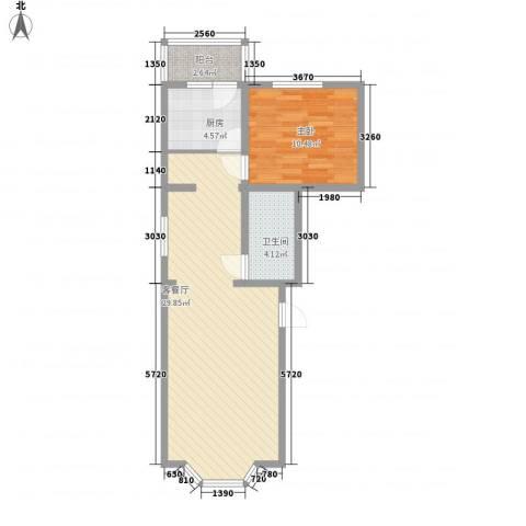 天泰新景温泉小区1室1厅1卫1厨74.00㎡户型图