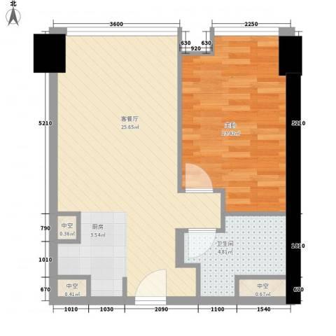 方恒国际中心1室1厅1卫0厨64.00㎡户型图