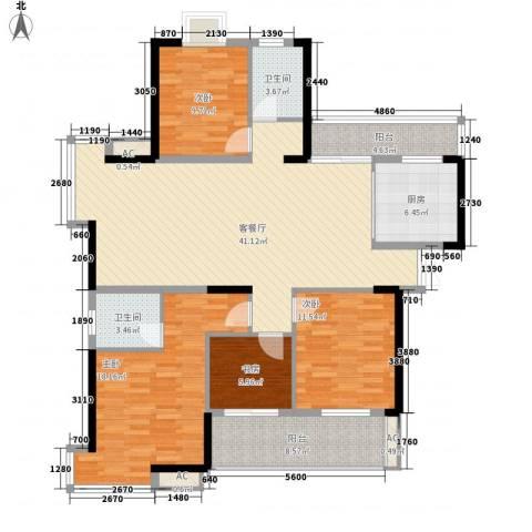 铜锣湾香逸澜湾4室1厅2卫1厨163.00㎡户型图