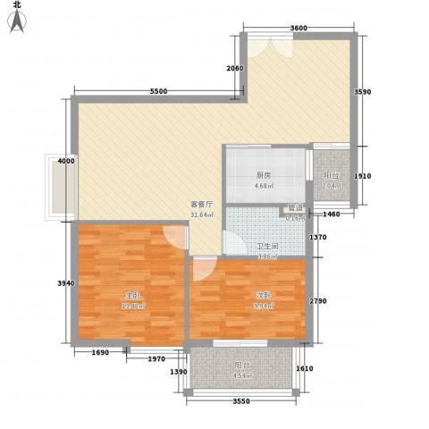 海山观江楼2室1厅1卫1厨99.00㎡户型图