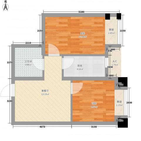 华发首府2室1厅1卫1厨62.00㎡户型图