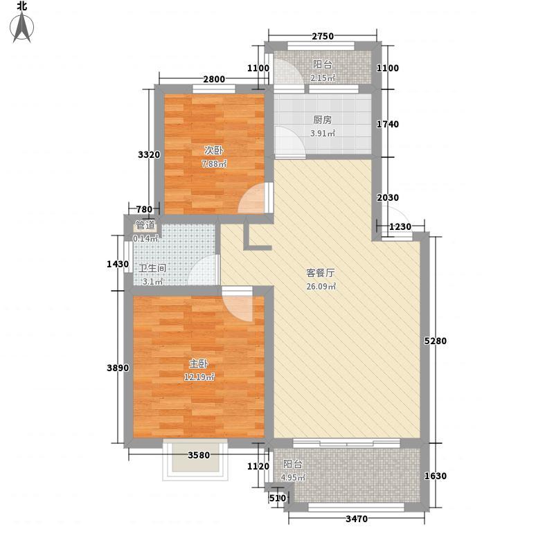 顺城・锦湖湾88.00㎡A户型2室2厅1卫1厨