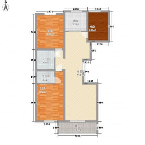 美和蓝湾3室1厅2卫1厨133.00㎡户型图