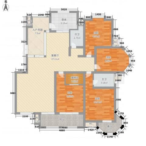 华源山水国际4室1厅0卫1厨159.00㎡户型图