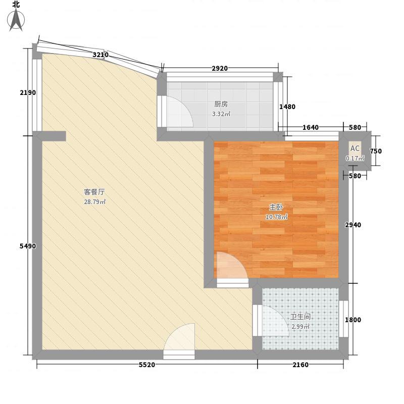 时代伟业200865.82㎡B1户型1室1厅1卫1厨