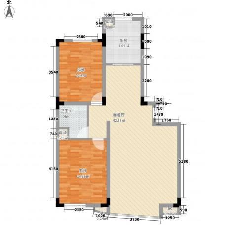五环高尔夫家园2室1厅1卫1厨116.00㎡户型图