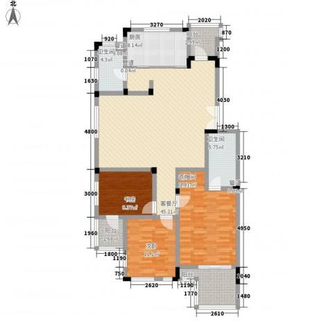 万科西街庭院3室1厅2卫1厨136.00㎡户型图