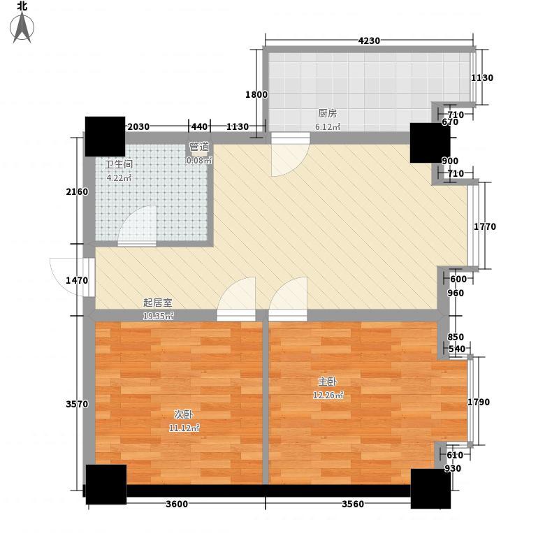 康桥国际77.74㎡二期D型户型2室1厅1卫1厨