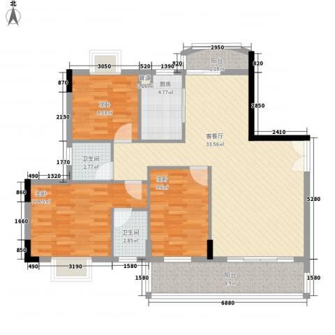 学院路市容局宿舍3室1厅2卫1厨158.00㎡户型图