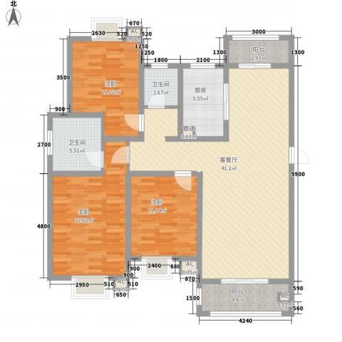 恒盛泰晤士印象3室1厅2卫1厨132.00㎡户型图