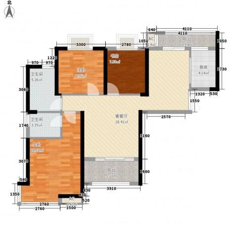 铜锣湾香逸澜湾3室1厅2卫1厨110.00㎡户型图