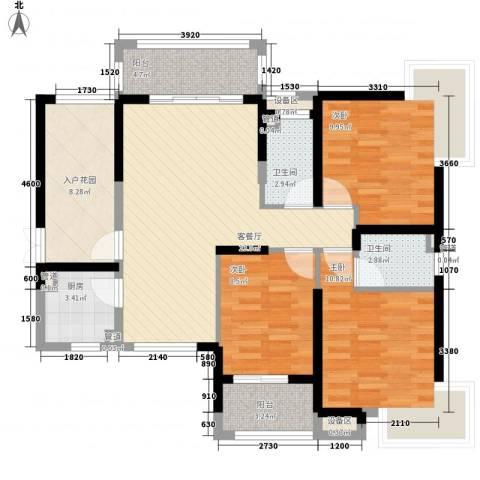 发能太阳海岸3室1厅2卫1厨119.00㎡户型图