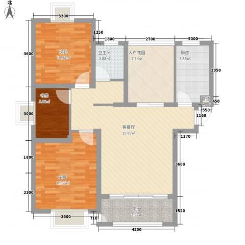 华地紫园3室1厅1卫1厨105.00㎡户型图