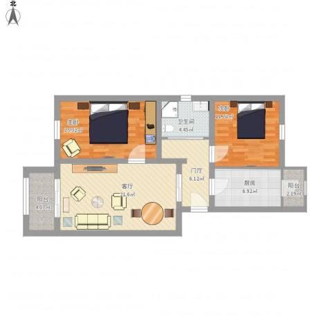 龙跃苑东四区2室1厅1卫1厨107.00㎡户型图