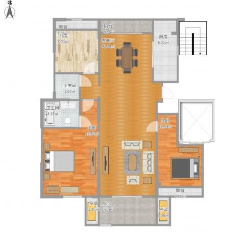 华府国际3室1厅2卫1厨148.00㎡户型图