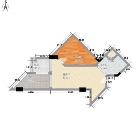 博鳌・白马郡1室1厅1卫1厨83.00㎡户型图