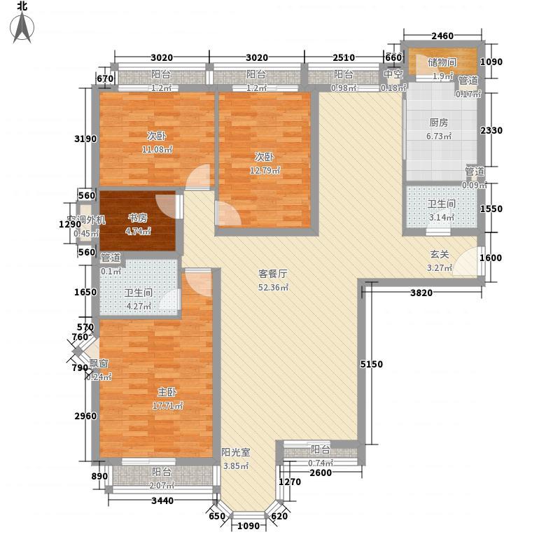 珠江罗马嘉园二期176.46㎡尊崇天地户型4室2厅2卫1厨