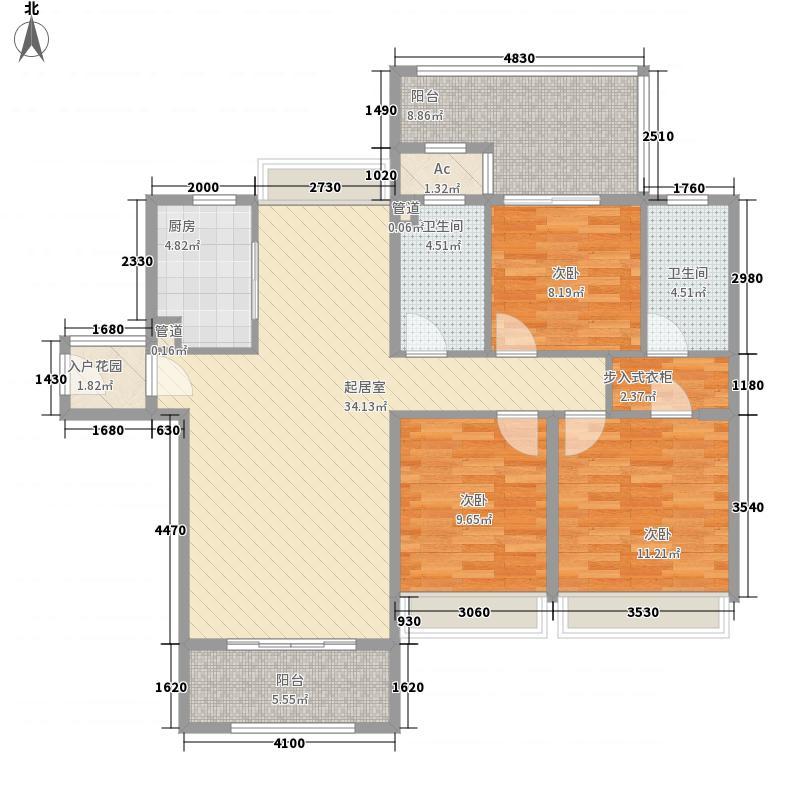 中央美地128.00㎡二期7#01单元户型3室2厅2卫1厨