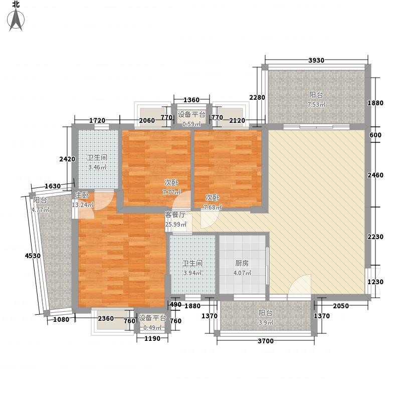 尚城三期121.00㎡17街2幢02户型3室2厅2卫1厨