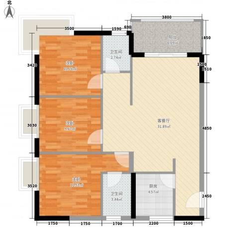 圣煜颐山居3室1厅2卫1厨91.22㎡户型图
