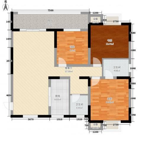 景江雅苑3室1厅2卫1厨143.00㎡户型图