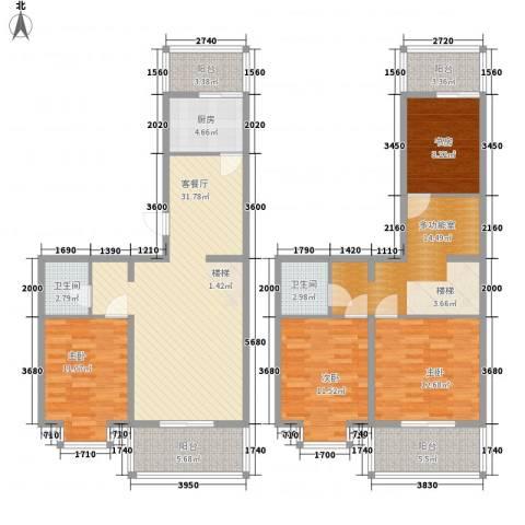 天泰新景温泉小区4室1厅2卫1厨169.00㎡户型图