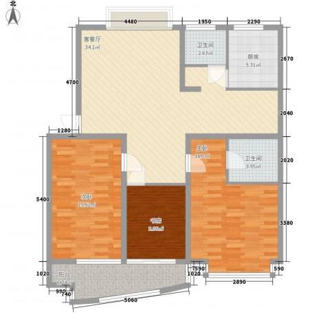 金峰沐春园3室1厅2卫1厨132.00㎡户型图