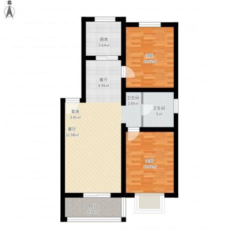 花间小镇2室1厅1卫1厨112.00㎡户型图