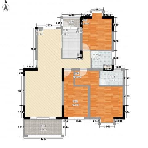 紫金园3室1厅2卫1厨139.00㎡户型图