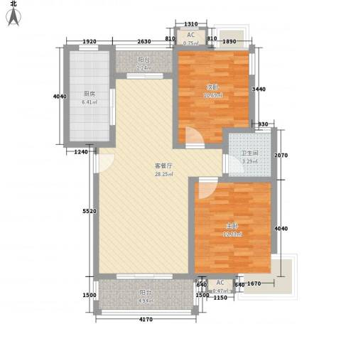 怡兰苑2室1厅1卫1厨99.00㎡户型图