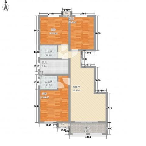 美和蓝湾3室1厅2卫1厨115.00㎡户型图