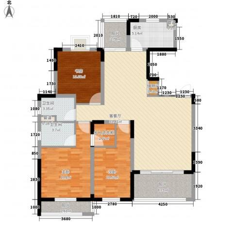 紫金园3室1厅2卫1厨141.00㎡户型图