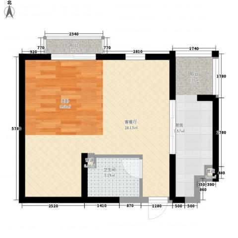 龙泽苑东区1厅1卫1厨59.00㎡户型图