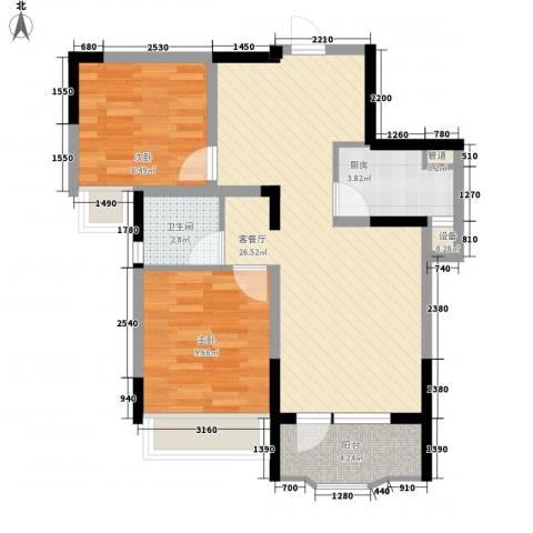 中庚香海连天2室1厅1卫1厨74.00㎡户型图