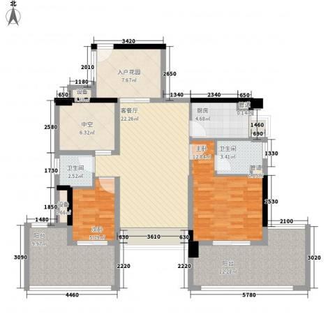 深业东城上邸2室1厅2卫1厨89.06㎡户型图
